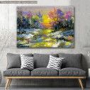 Canvas print Scenery at forest, Winter landscape with the wood river