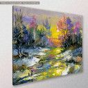 Canvas print Scenery at forest, Winter landscape with the wood river, side