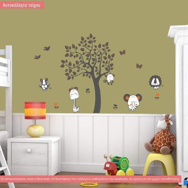Kids wall stickers tree with animals, Jungle animals