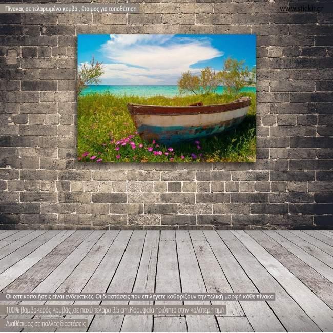 Canvas print Fishing boat at Cyclades