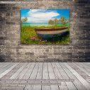 Πίνακας σε καμβά ψαρόβαρκα, Fishing boat at Cyclades