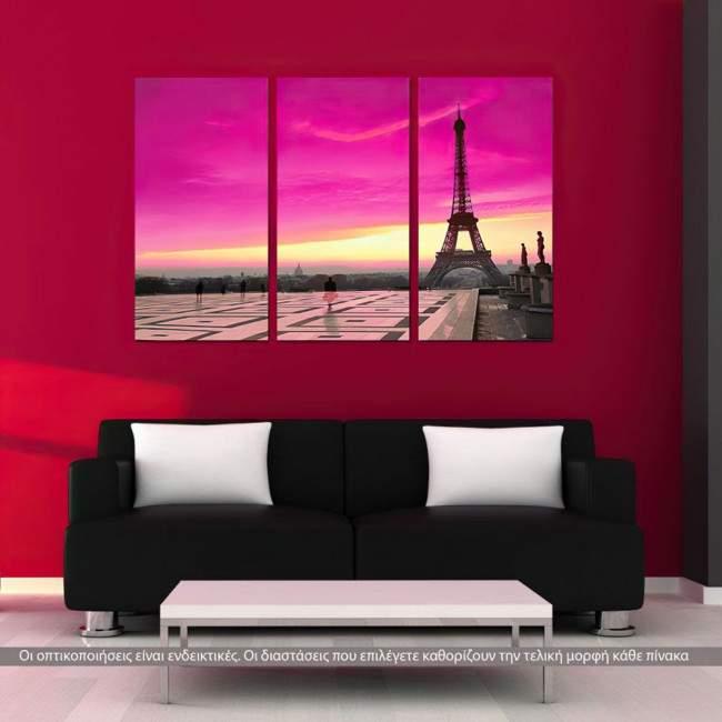 Πίνακας σε καμβά Eiffel pink sunset, τρίπτυχος
