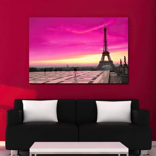 Canvas print Eiffel pink sunset