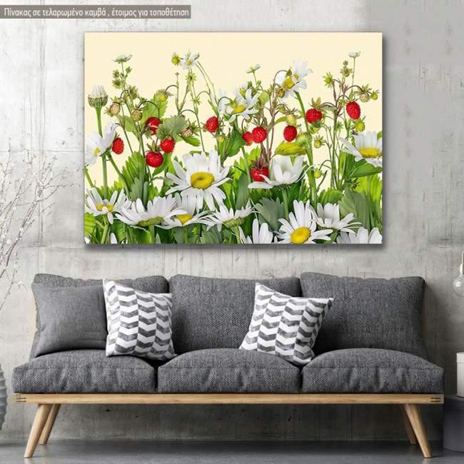 Canvas print, Strawberry daisies