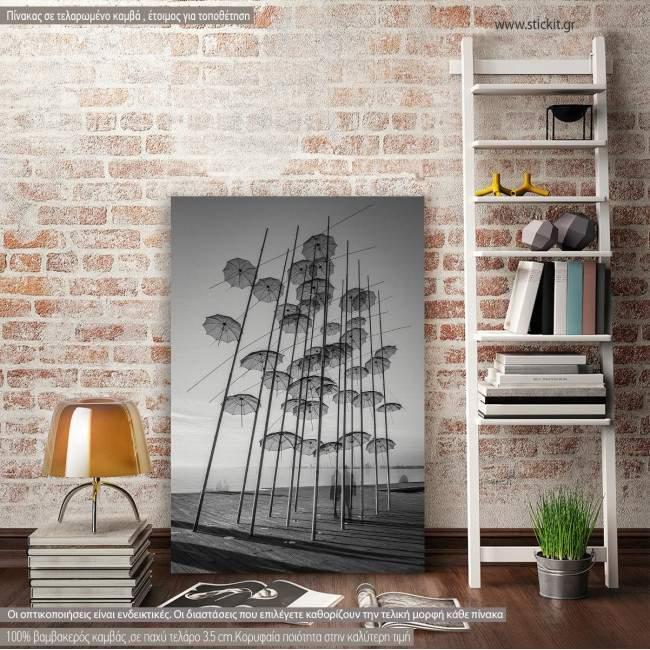 Πίνακας σε καμβά Θεσσαλονίκη, Umbrellas of Thessaloniki, black and white