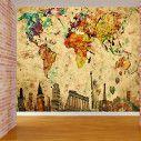 Ταπετσαρία τοίχου Παγκόσμιος τουριστικός χάρτης