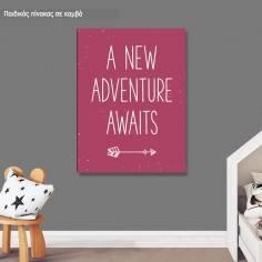 Πίνακας παιδικός σε καμβά A new adventure awaits girly