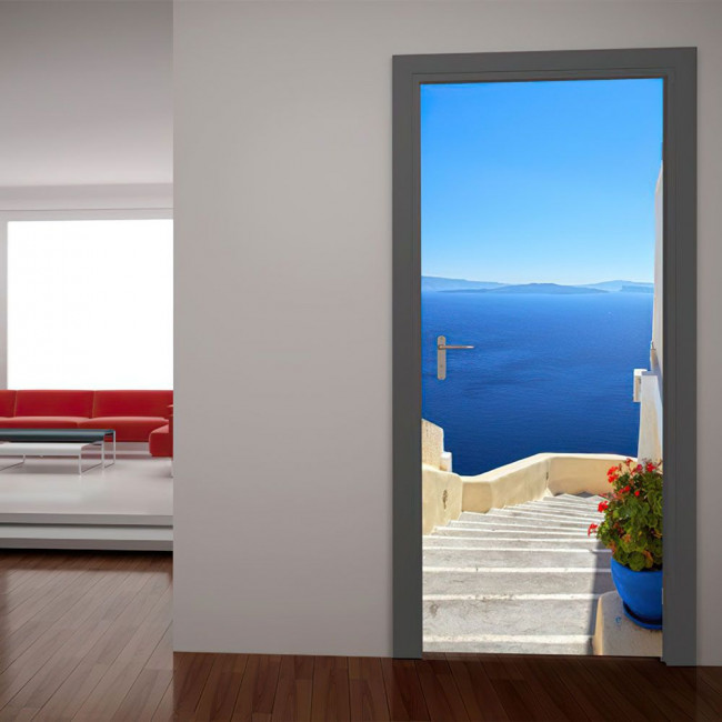 Door sticker Santorini, view from above