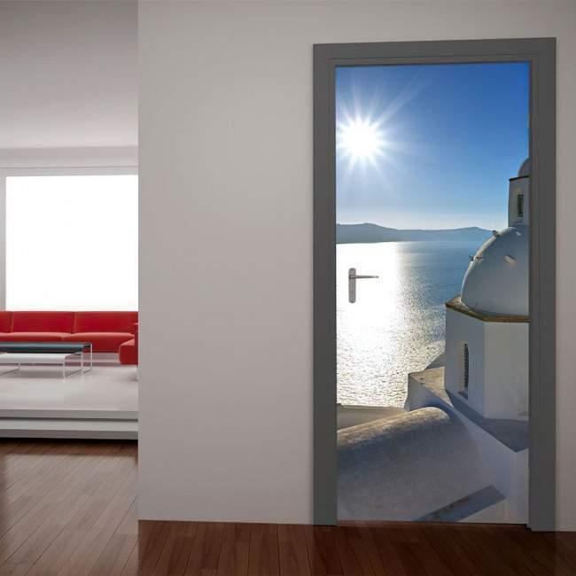 Door sticker Santorini, view over the chapel