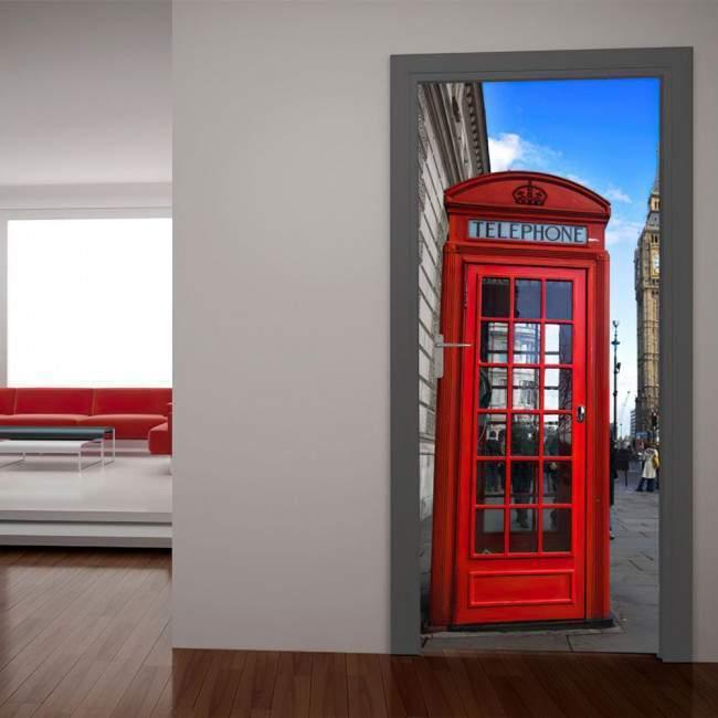 Αυτοκόλλητο πόρτας Αγγλικός τηλεφωνικός θάλαμος
