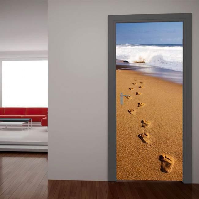 Αυτοκόλλητο πόρτας Βήματα στην άμμο