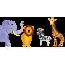 Wall stickerselephant, lion, zebra and giraffe. Jungle Animals