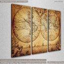 Vintage world map 1733, τρίπτυχος πίνακας σε καμβά, κοντινό