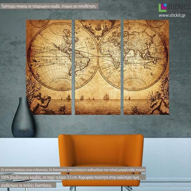 Πίνακας σε καμβά Vintage world map 1733, τρίπτυχος