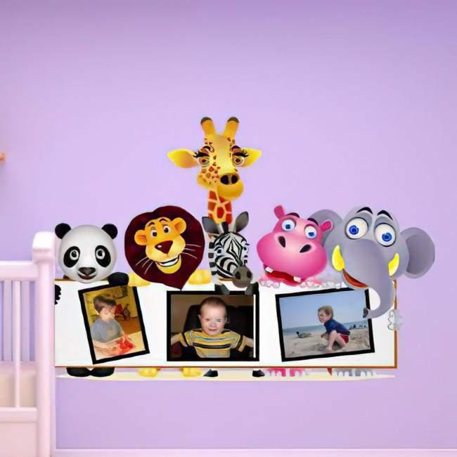 Αυτοκόλλητα τοίχου παιδικά Ζώα της ζούγκλας με χώρο για φωτογραφία