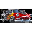 Αγωνιστικό αυτοκίνητο cartoon, Αυτοκόλλητο τοίχου , κοντινό