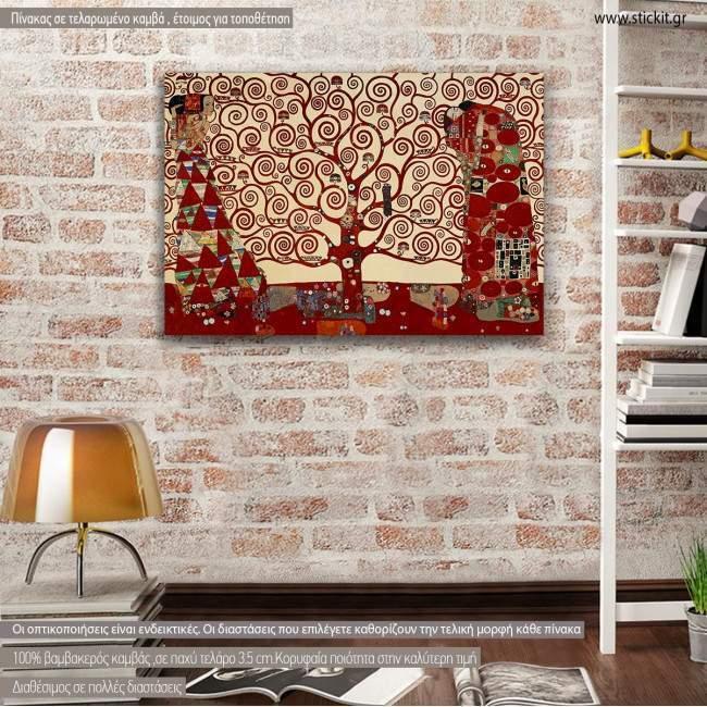 Canvas print Tree of life red, (original G. Klimt), reproduction