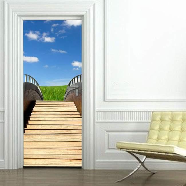 Αυτοκόλλητο πόρτας Σκαλιά στον ουρανό