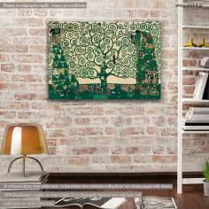 Canvas print Tree of life green (original Klimt), reproduction