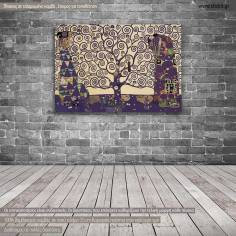 Canvas print Tree of life mauve, (original G. Klimt), reproduction