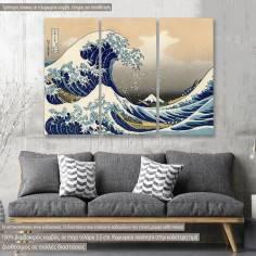 Πίνακας σε καμβά The great wave off Kanagawa, τρίπτυχος