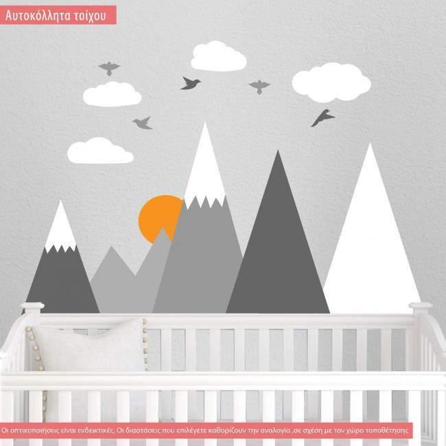 Αυτοκόλλητα τοίχου παιδικά Τοπίο με βουνά πουλιά και σύννεφα, ολόκληρη παράσταση