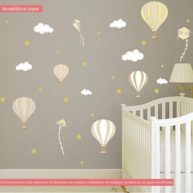 Αυτοκόλλητα τοίχου παιδικά αερόστατα, χαρταετοί και αστέρια, Balloons in the night sky brown theme, συλλογή