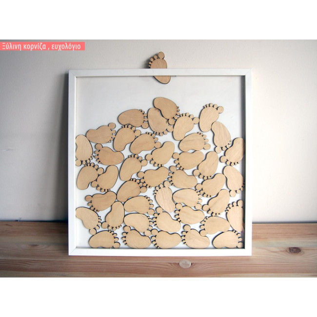Frame with footprints wooden wishes board