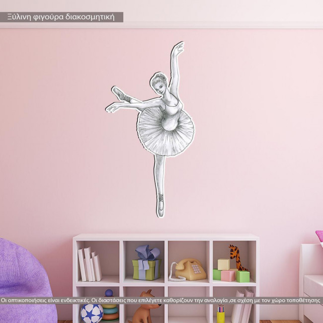 wooden decorative figure ballerina scetch