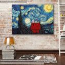 Canvas print Snoopy's starry night, (based on Starry night by van Gogh), reproduction