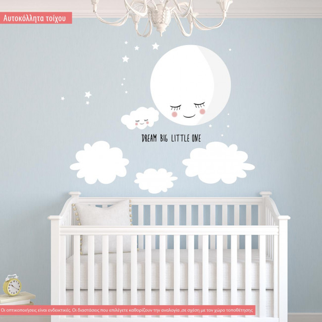 Kids wall stickers Moon, smiley moon