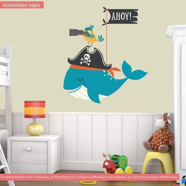 Αυτοκόλλητα τοίχου παιδικά με φάλαινα και πειρατή, Ahoy