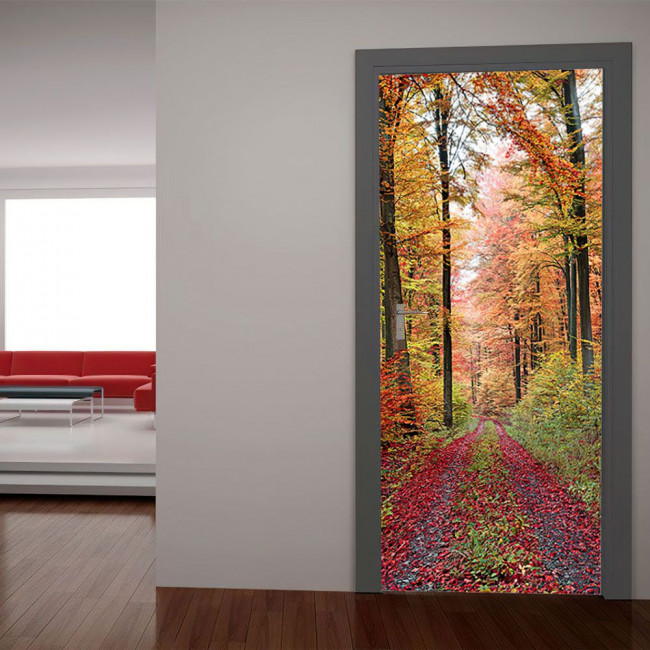 Αυτοκόλλητο πόρτας Μονοπάτι στρωμένο με φύλλα