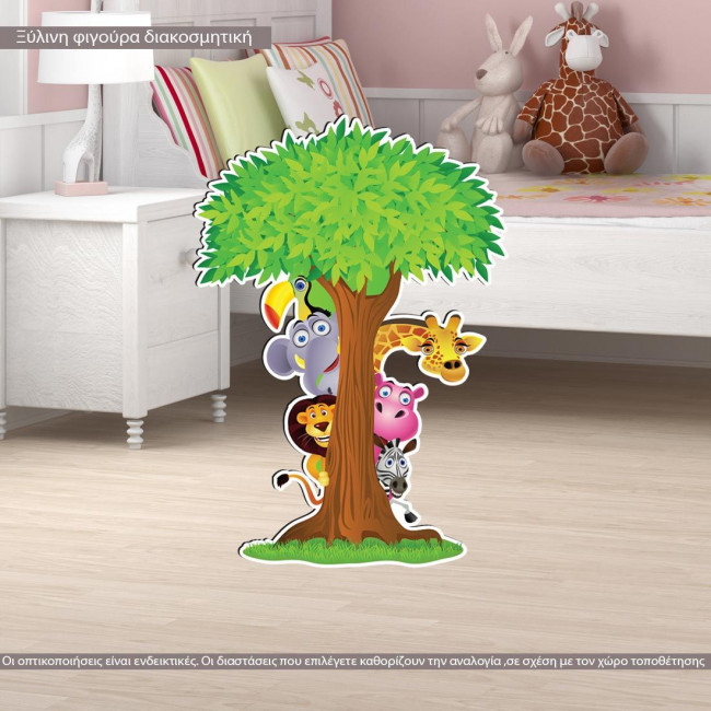 wooden decorative figure printed hide and seek with tree