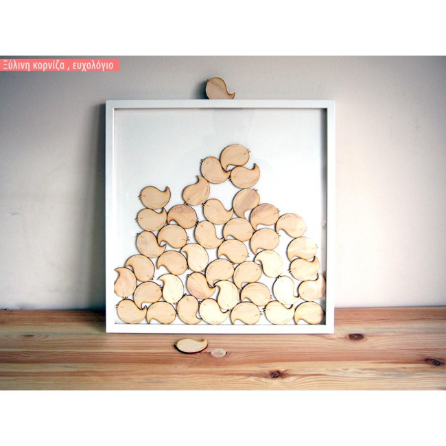 Frame with birds wooden wishes board