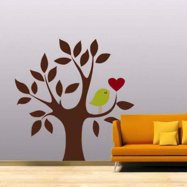 Αυτοκόλλητο τοίχου Δέντρο, καρδιά και πουλί