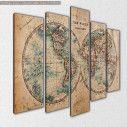 Old World Map in Hemispheres, πεντάπτυχος πίνακας σε καμβά, κοντινό
