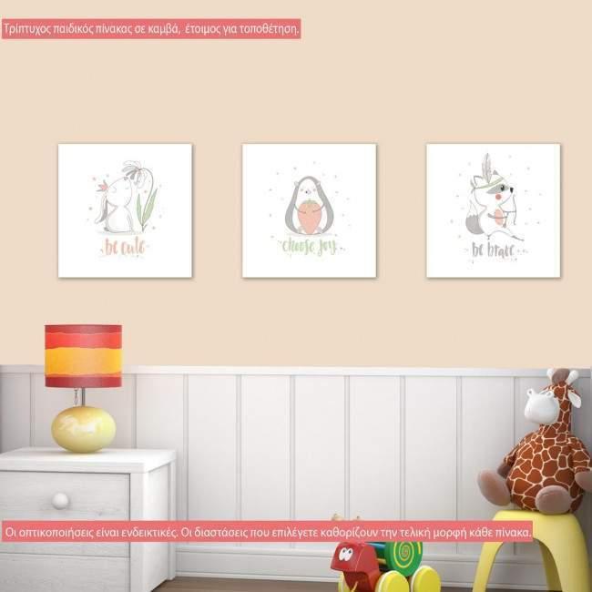 Πίνακας παιδικός σε καμβά Cute animals, τρίπτυχος