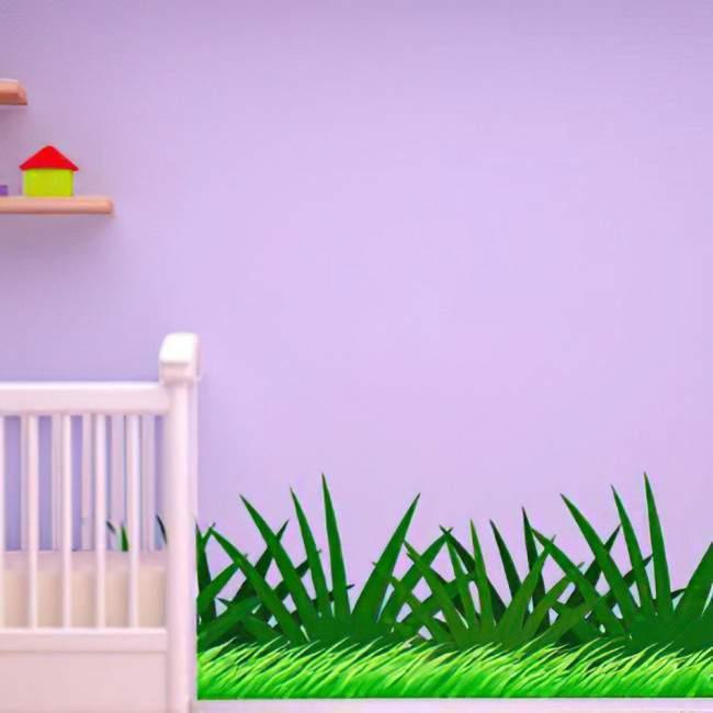 Μπορντούρα αυτοκόλλητο τοίχου, γρασίδι, χόρτα, Φυτά της Ζούγκλας