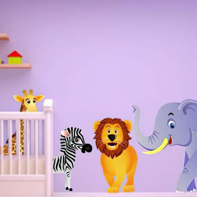 Αυτοκόλλητο τοίχου ελέφαντας, λιοντάρι, ζέβρα και καμηλοπάρδαλη.Ζώα της ζούγκλας