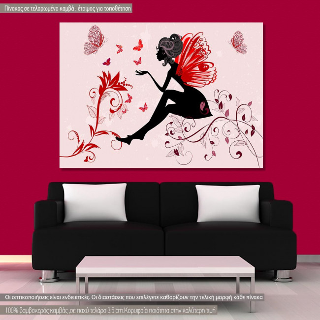 Πίνακας σε καμβά Butterfly lady