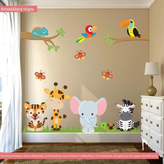 Αυτοκόλλητα τοίχου παιδικά Πάμε σαφάρι, με ζωάκια της ζούγκλας, μεγάλη συλλογή