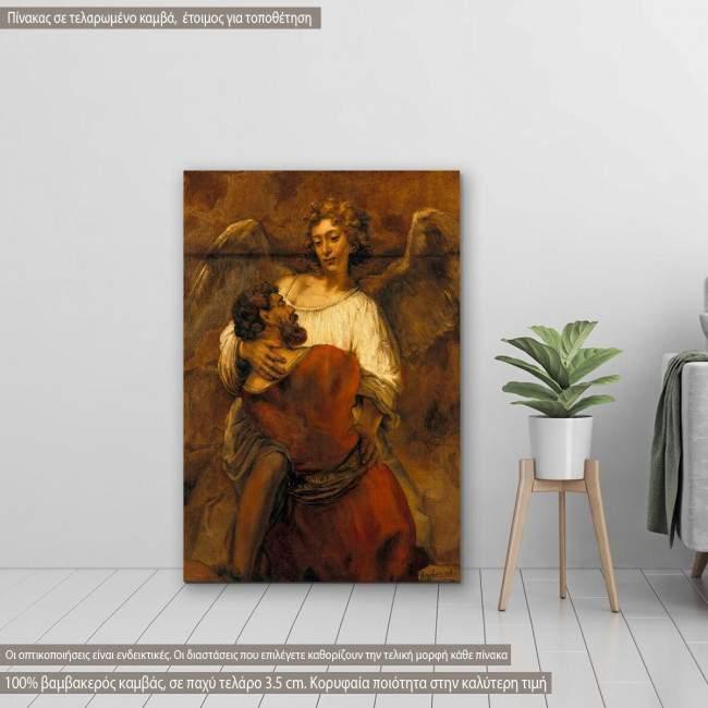 Πίνακας ζωγραφικής Jakobs fight with an angel, Rembrandt, αντίγραφο σε καμβά