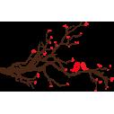 Ερωτευμένα πουλιά | Καφέ - Κόκκινο | Αυτοκόλλητο τοίχου, κοντινό