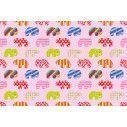 Colorful elephants (pink), ταπετσαρία τοίχου με μοτίβo