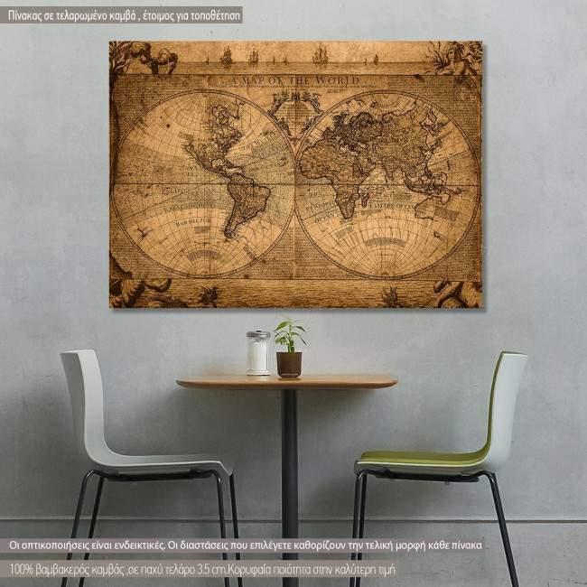 Πίνακας σε καμβά Ρετρό παγκόσμιος χάρτης