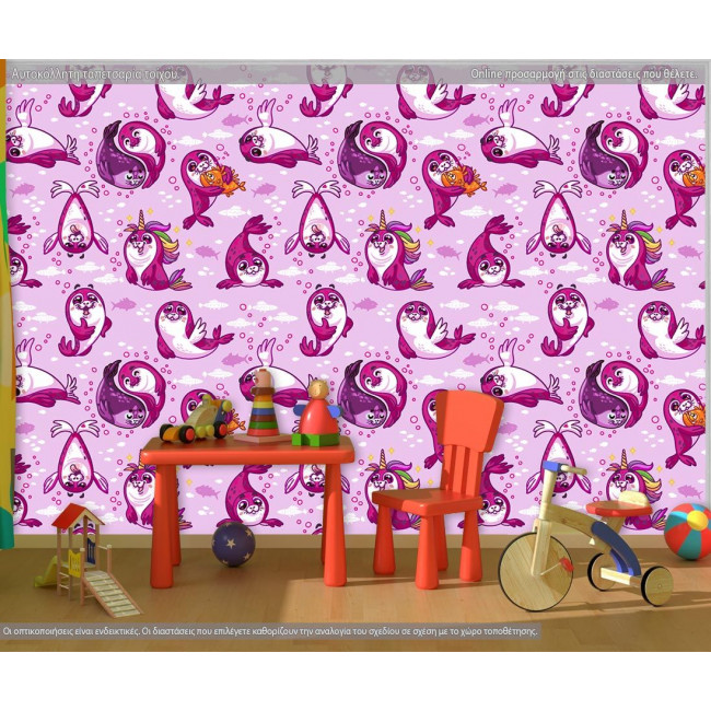 Ταπετσαρία τοίχου Μικρές φώκιες (ροζ), μοτίβο