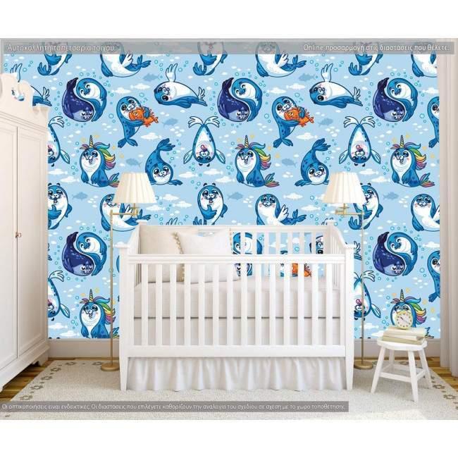 Ταπετσαρία τοίχου Μικρές φώκιες (μπλε), μοτίβο