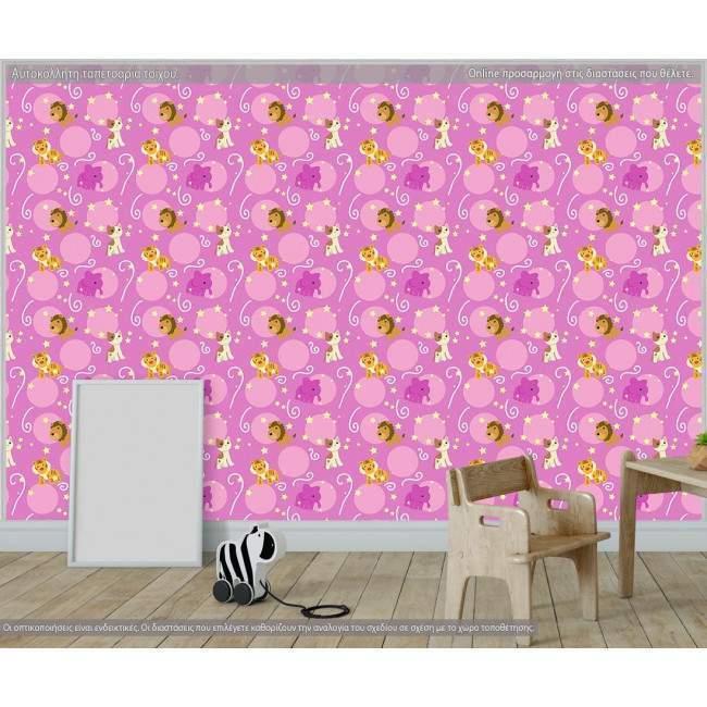 Ταπετσαρία τοίχου Pink animals, μοτίβο