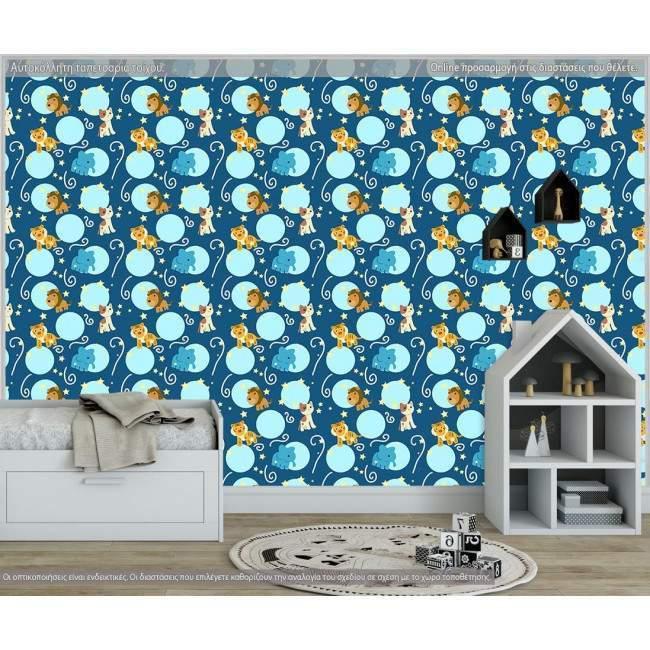 Ταπετσαρία τοίχου Blue animals, μοτίβο